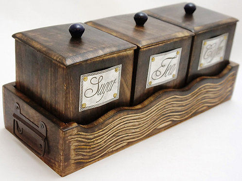 Handcrafted Wooden Antique Look Tea Coffee Sugar 3 Piece Canister Set 15 Inches