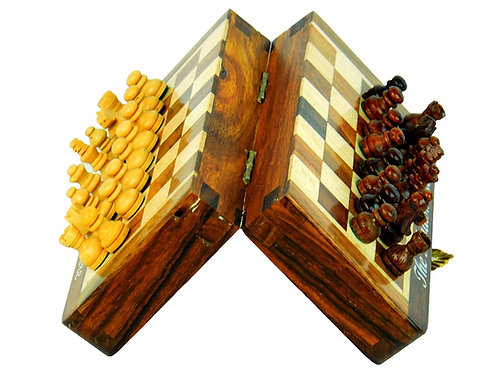5 inches High Quality Deluxe Travel Magnetic Wooden Chess Board