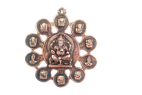 Copper Metal Ganesha Sitting On A Throne With Eight Depictions of Ganesha