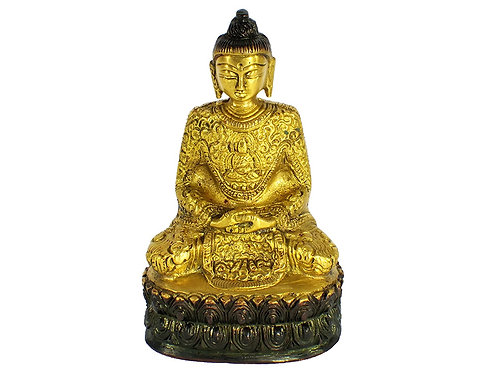 Brass Handcrafted Seated Meditating Buddha with Intricate Carving