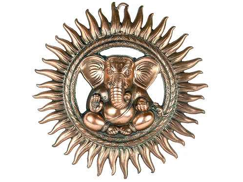 Metal Sun Ganesha Wall Hanging 15 Inches Wall Door Hanging with Copper Finish