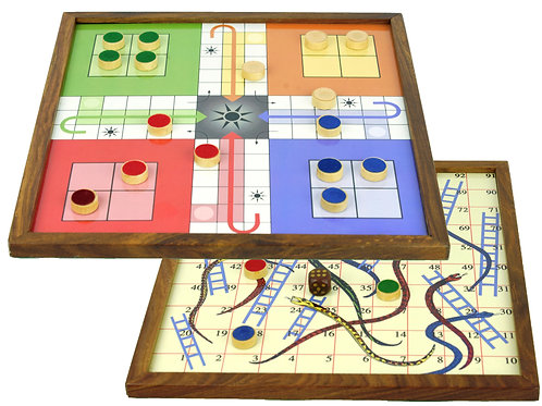 Wooden Snake and Ladder Classic Game with Magnetic Pieces.