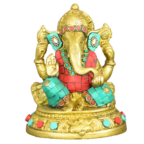 Exquisite Brass Lucky Charm Lord Ganesha  Statue with Colorful Stones