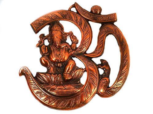Om Ganesh 10 Inches Wall Door Hanging with Copper Finish for Prosperity and Good