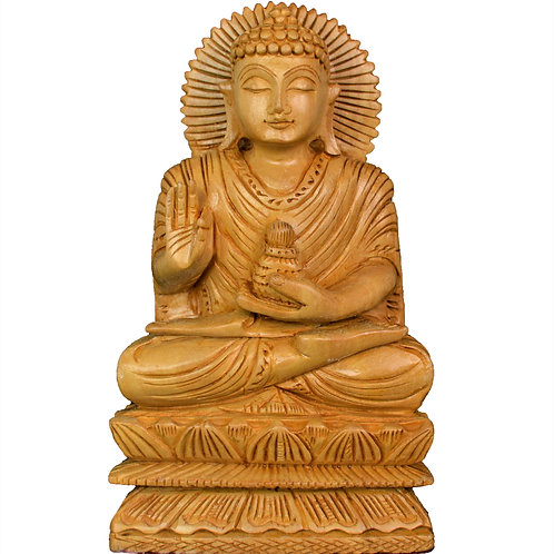 Wooden Handcrafted Seated Meditating Serene Buddha with Intricate Carving