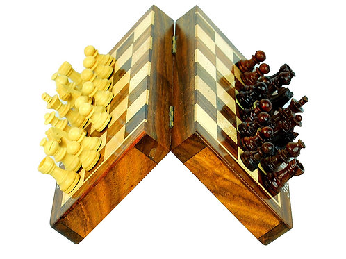 High Quality Deluxe 7 Inches Travel Magnetic Handcrafted Wooden Chess Board