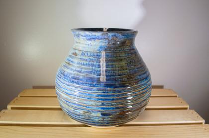 Blue Textured Vase