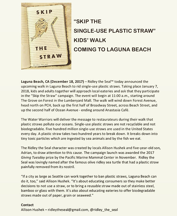skip the straw kids walk plastic pollution clean ocean don't suck reusable straw steel straw bamboo straw glass straw ridley the seal save the turtles clean ocean