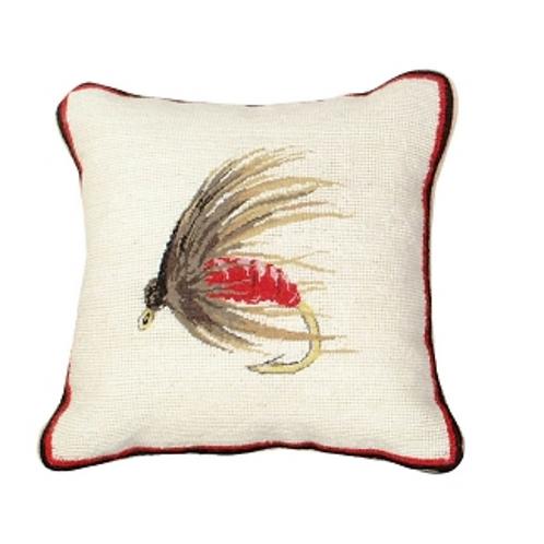 Hackel Fly Needlepoint 12x12 pillow