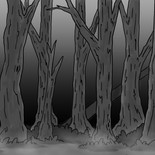 Hansel and Gretel House Forest Background BW Sample