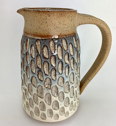 Tall Pitcher in Natural Clay with Carvings and Ombre Glaze