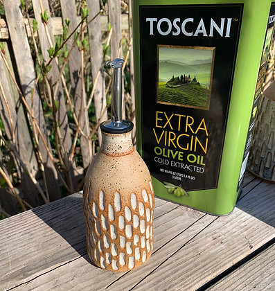 Olive Oil Bottle with Carvings with inlaid cream