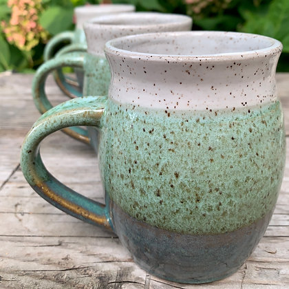 Ceramic Mug Coffee Cup in overlapping spring green and speckled white