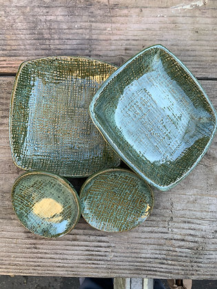 Set of appetizer trays/plates in beautiful green