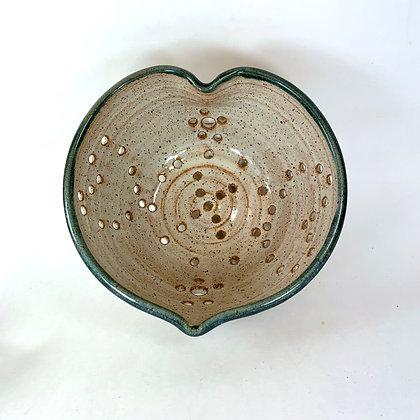 Berry Bowl, Small Ceramic Colander, in Slate Rim Heart Shape