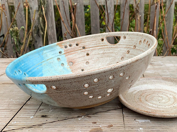 GIANT Ceramic Berry Bowl, Ceramic Colander, Farmhouse Bowl, Fruit Bowl