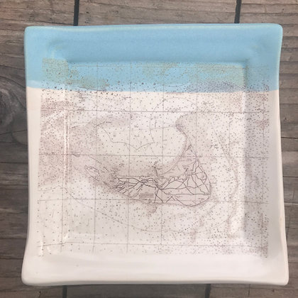 Ceramic Plate  - Square Plate with nautical chart Nantucket