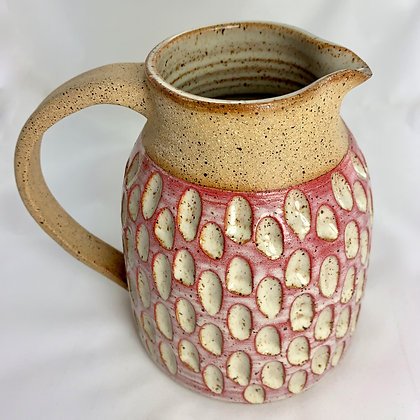 Pitcher in Natural Clay with Carvings and Ombre Glaze