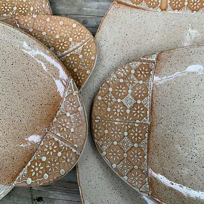 Handmade Wabi Sabi Nesting Serving plates, ceramic platter