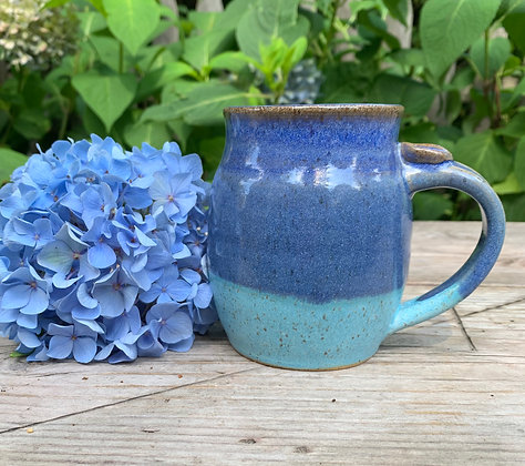 handmade mug, ceramic cup, blue pottery mug
