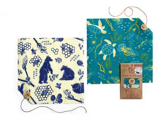 Sandwich Wrap 2 pack Oceans / Bees & Bears prints