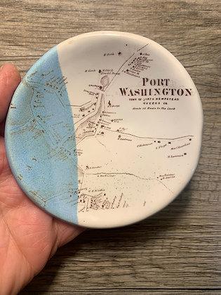 Port Washington Vintage Map - round ring dish