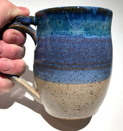 coffee mug ocean and beach colors blue and sand coffee cup