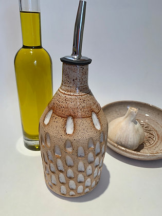 Olive Oil Bottle in Natural Clay with Carvings