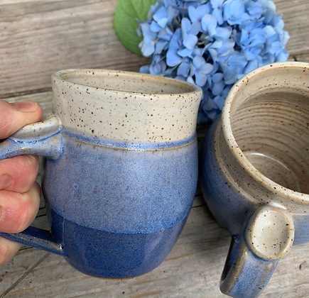 Ceramic Mug Coffee Cup in overlapping Nantucket blue and Matt Cream