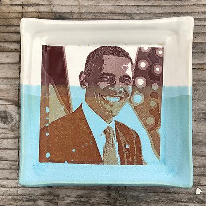 Obama square ceramic plate