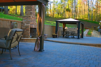 Residential paver patio and fireplace wi