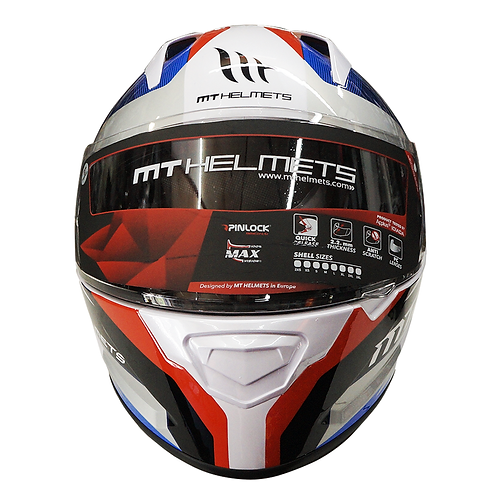 Casco MT - Stinger Shell - Fast Bend (Blanco y Azul)