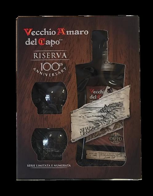 Riserva Vecchio amaro del capo con 2 bicchieri (acquavite di vino - Brandy 1969)