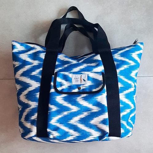 Bolso de playa cremallera Zig Zag Azul