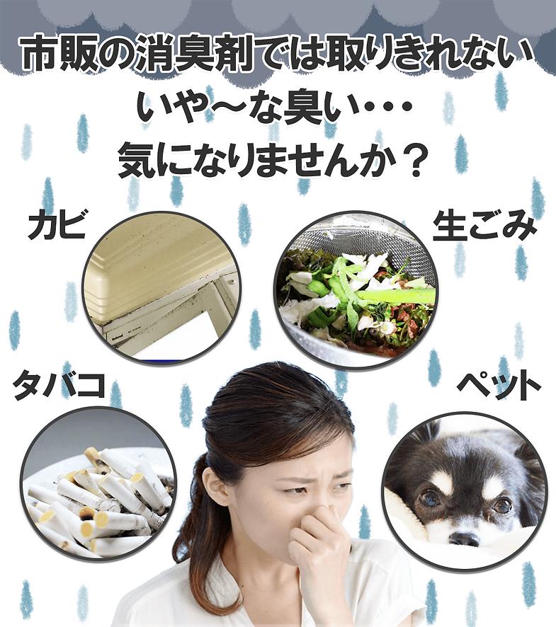 市販の消臭剤では取り切れない臭い、カビ、生ごみ、タバコ、ペット臭など。全て消臭可能です。