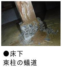 白蟻による床下束柱の食害画像