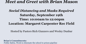 Meet and greet - Saturday September 19, 2020. 10:00 am- 12:00 pm