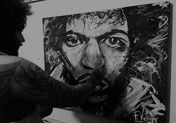 Fede Veiga pintando