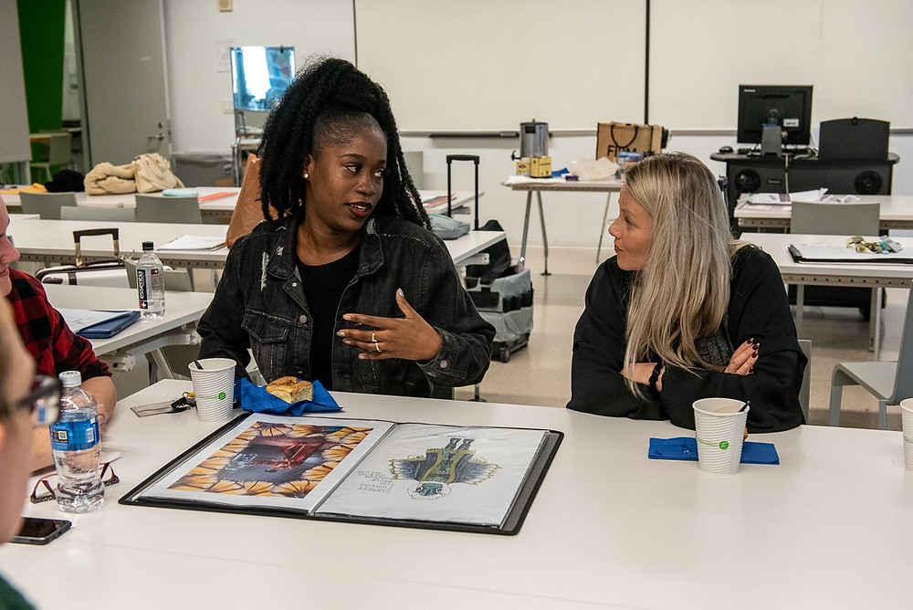 Mingo in class explaining her costume design concept for Masked Singer with Marina Toybina, FIDM Alumni & Costume Designer of Masked Singer on Fox.