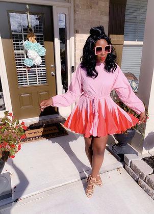 Flirty Pink Mixed Mini Dress