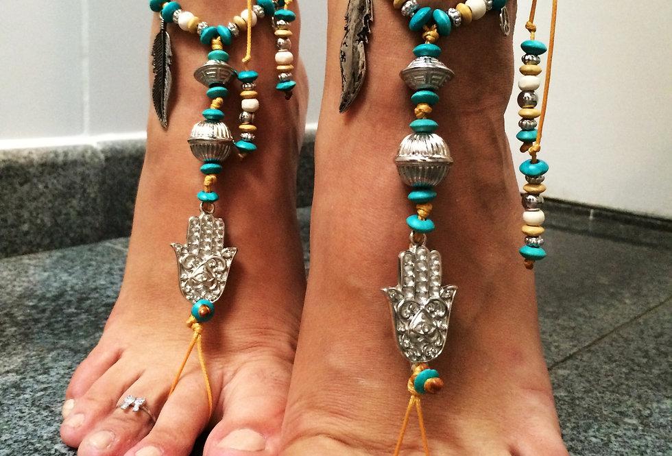 Barefoot Sandal Hamsá Azul