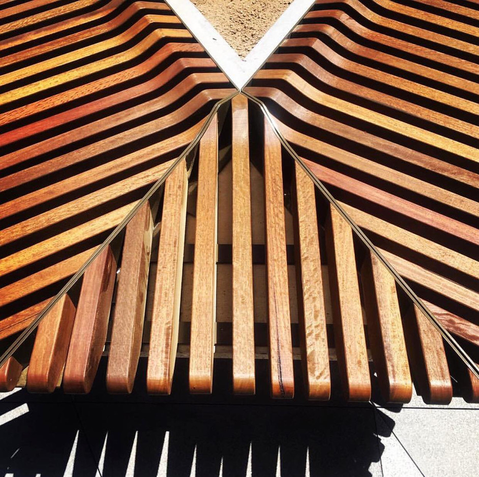 Installed Seat Slats - Spotted Gum