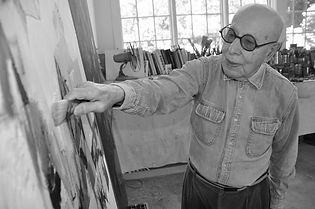 Gerson Leiber in his studio
