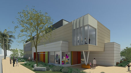 Exterior rendering of the main building entrance