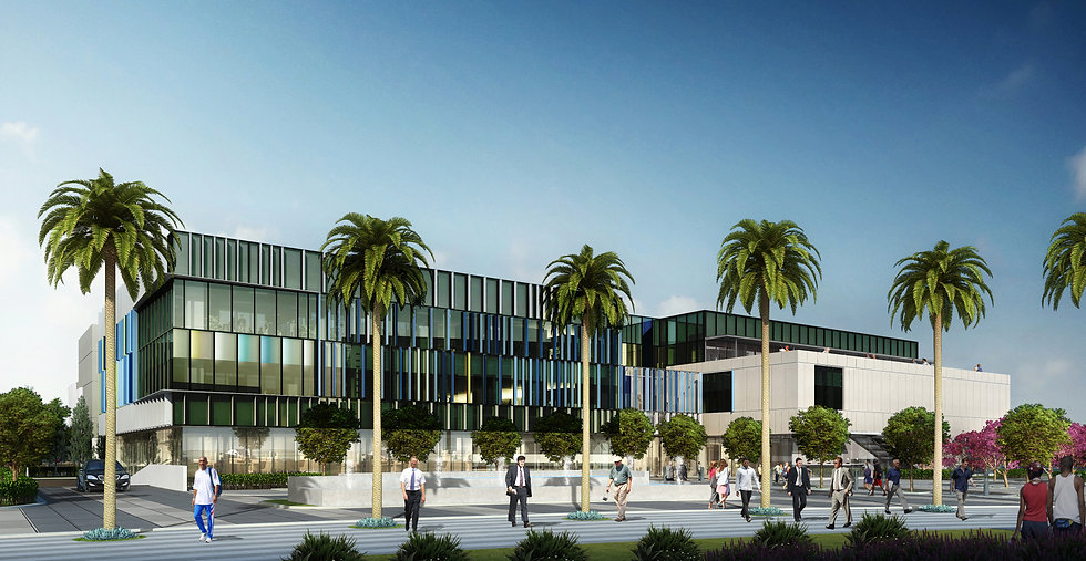 Rendering View of the Student Services Building from Pico