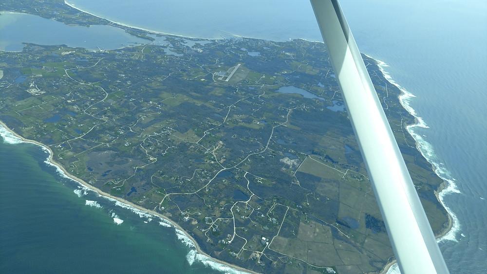 Touring over Block Island before landing