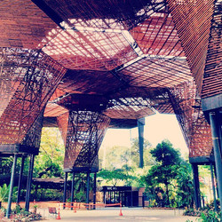 Colméia arquitetônica no Jardim Botânico de Medellín