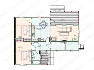 Планировка одноэтажного дома с 2-мя спальнями