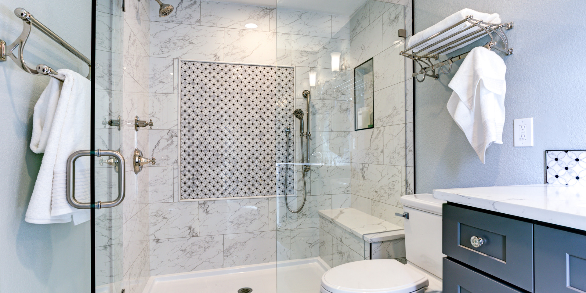 Transitional Walk-in Bathroom Los Angeles