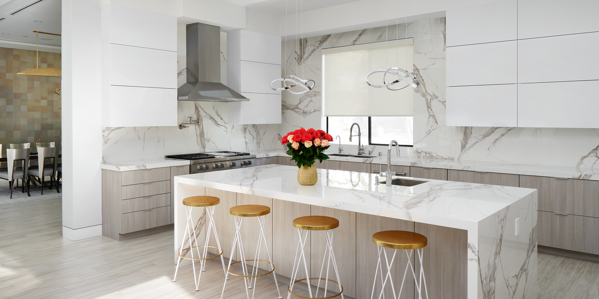 Open Concept White Marble Kitchen